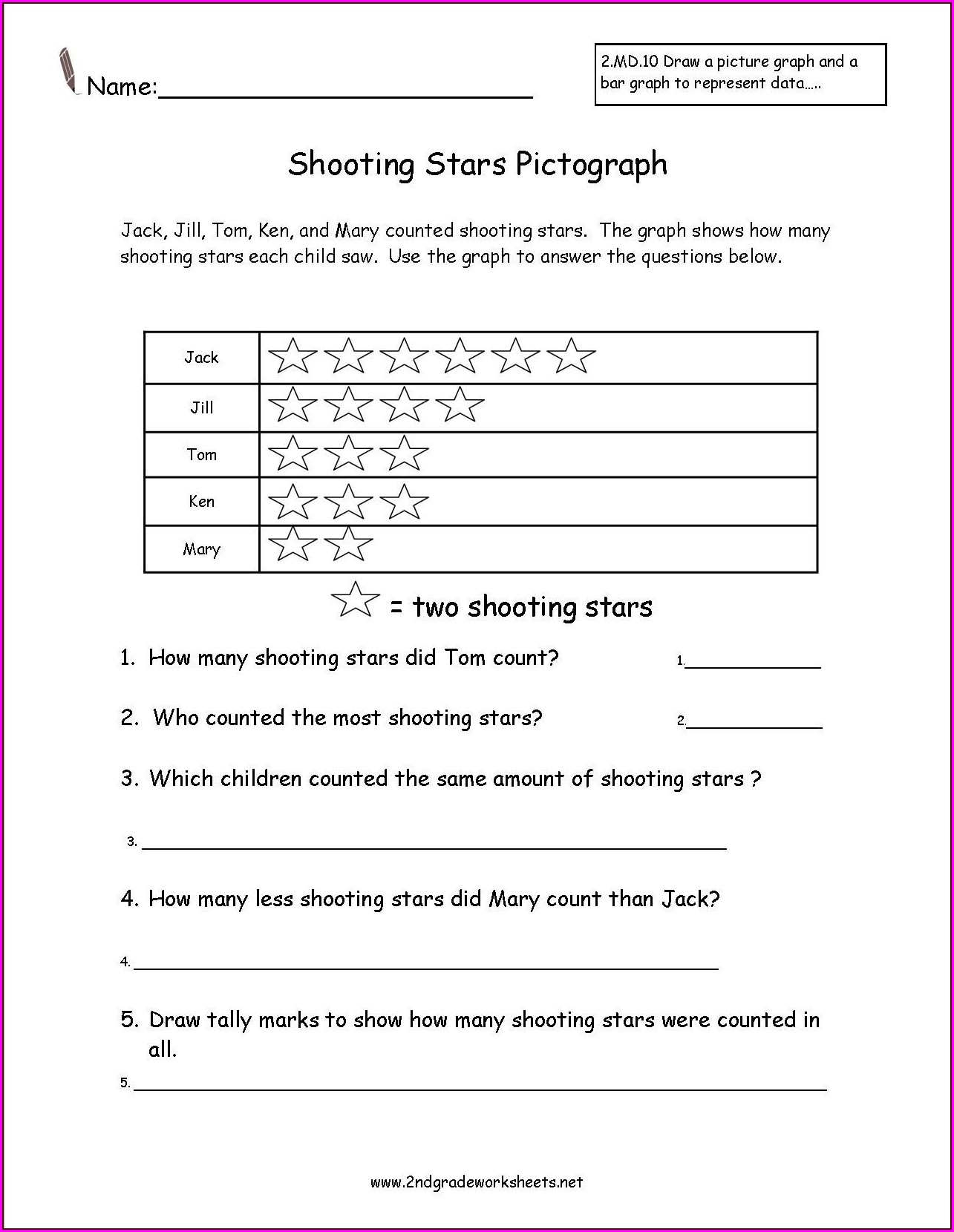 2nd Grade Data Handling Worksheets For Grade 2