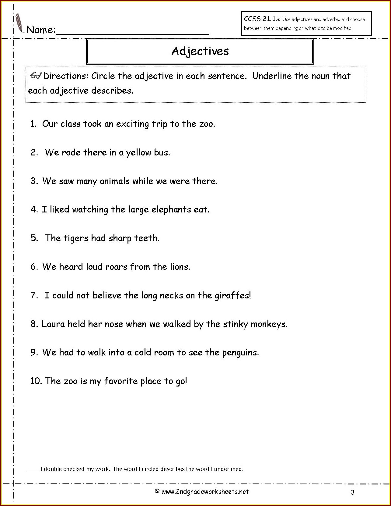 2nd Grade English Worksheet For Grade 2 Adjectives