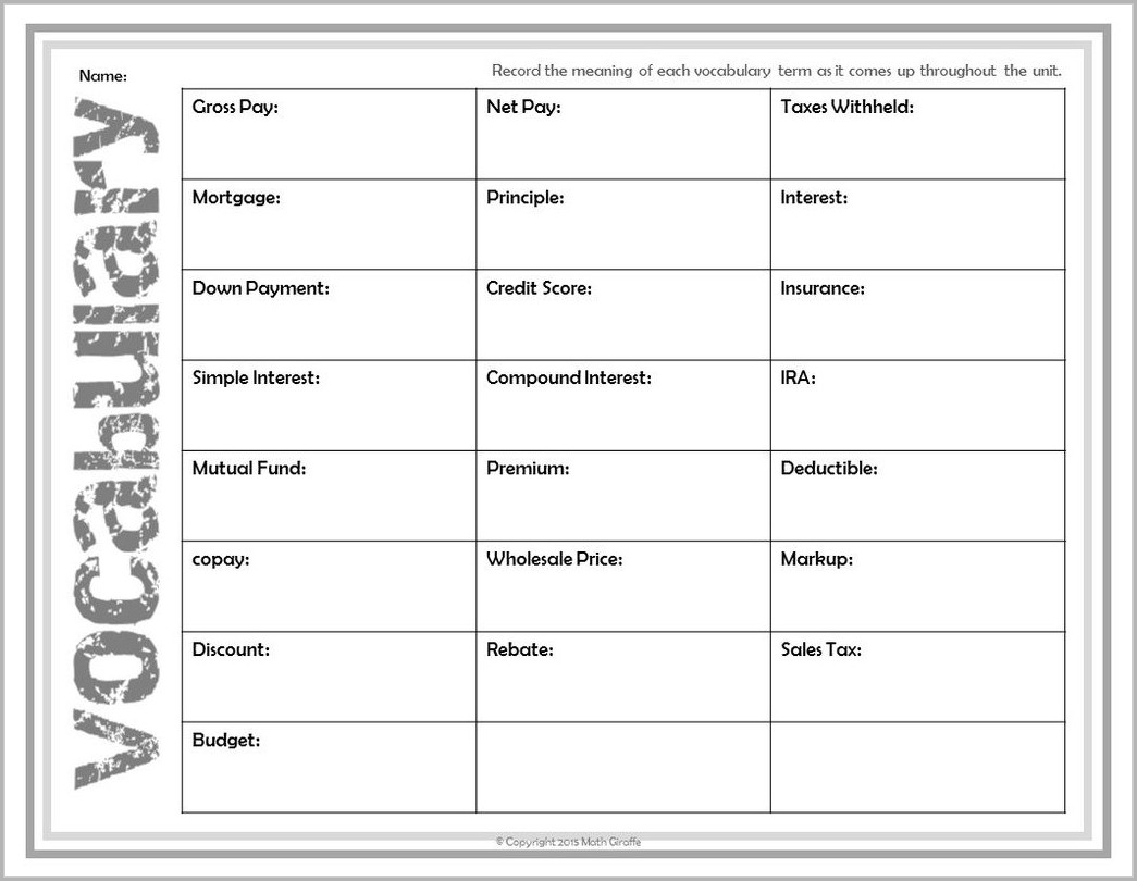 2nd Grade Financial Literacy Worksheets