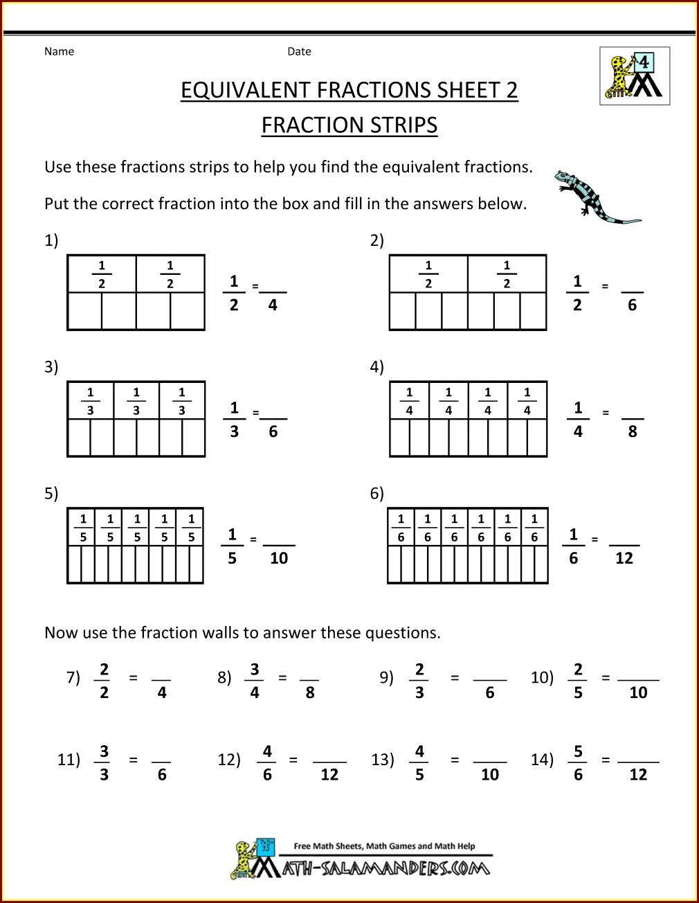 2nd Grade Fractions Worksheets Grade 3 Pdf