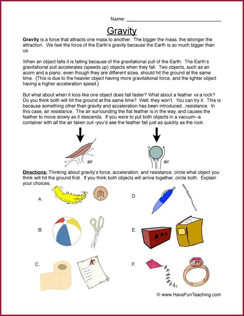 2nd Grade Gravity Worksheets
