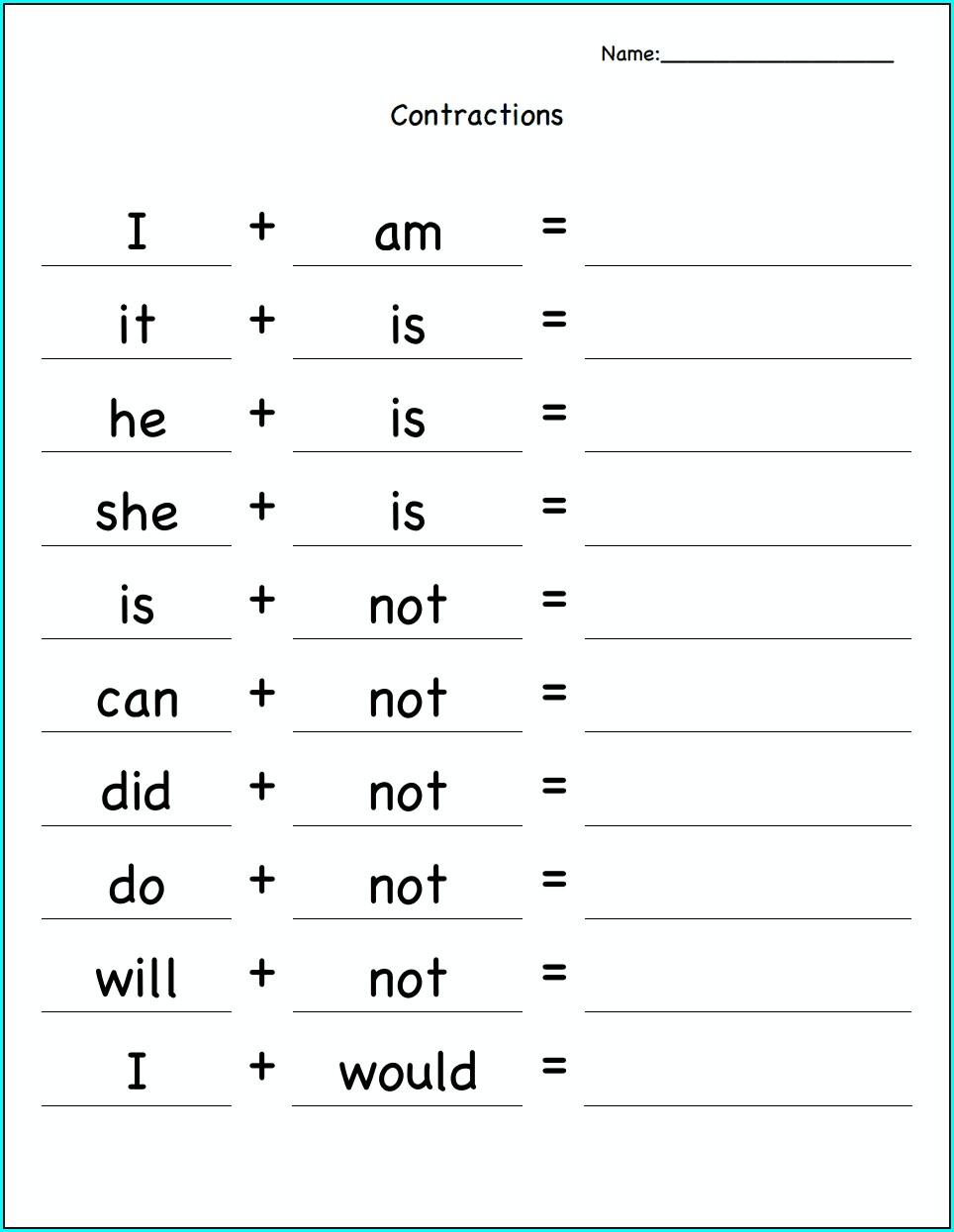 2nd Grade Homework Worksheets