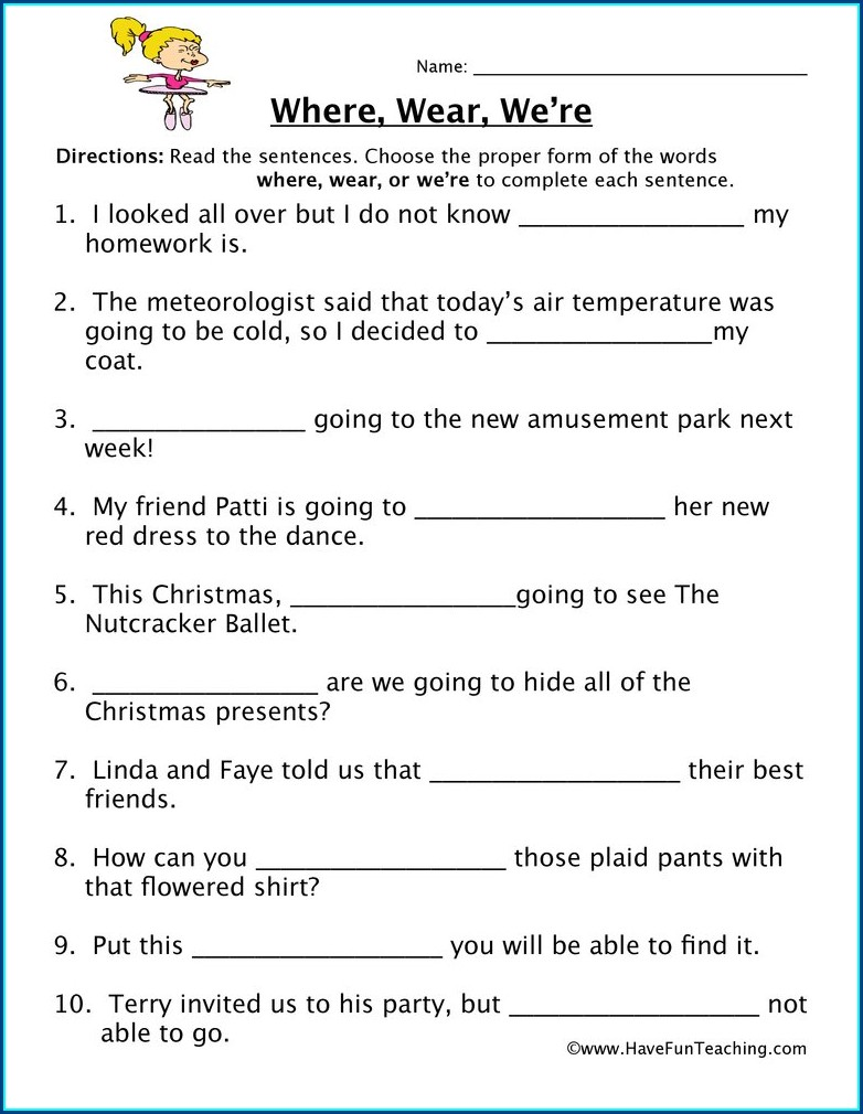 2nd Grade Homophones Worksheet For Class 3