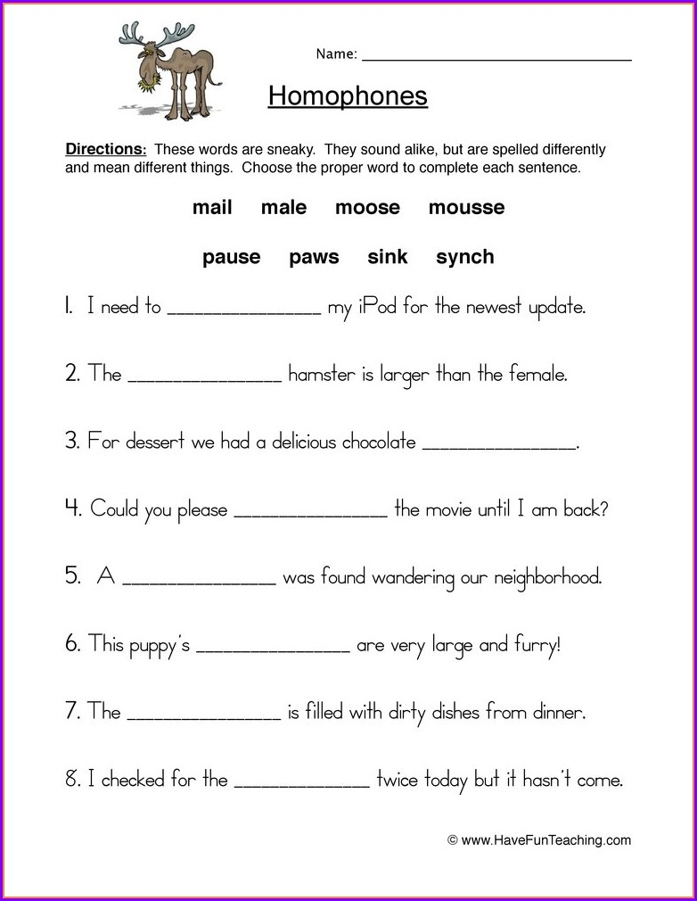 2nd Grade Homophones Worksheets For Grade 2