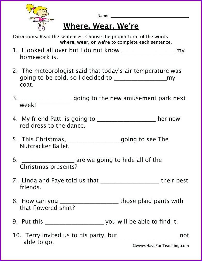 2nd Grade Homophones Worksheets Pdf