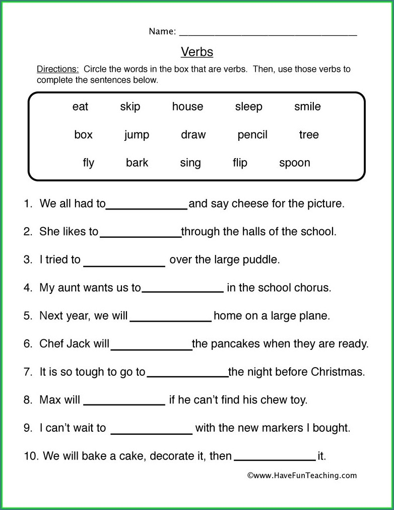 2nd Grade Irregular Verbs Worksheet Pdf