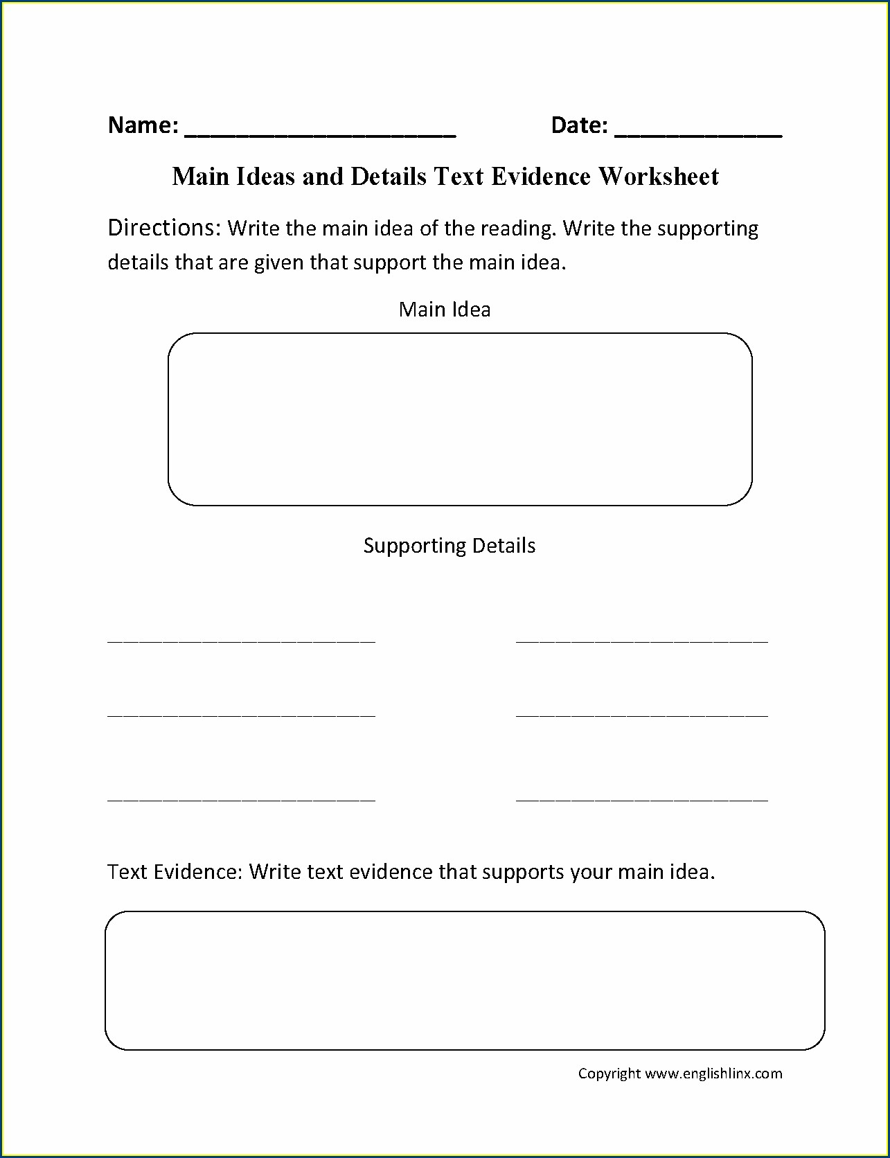 2nd Grade Main Idea And Details Worksheets