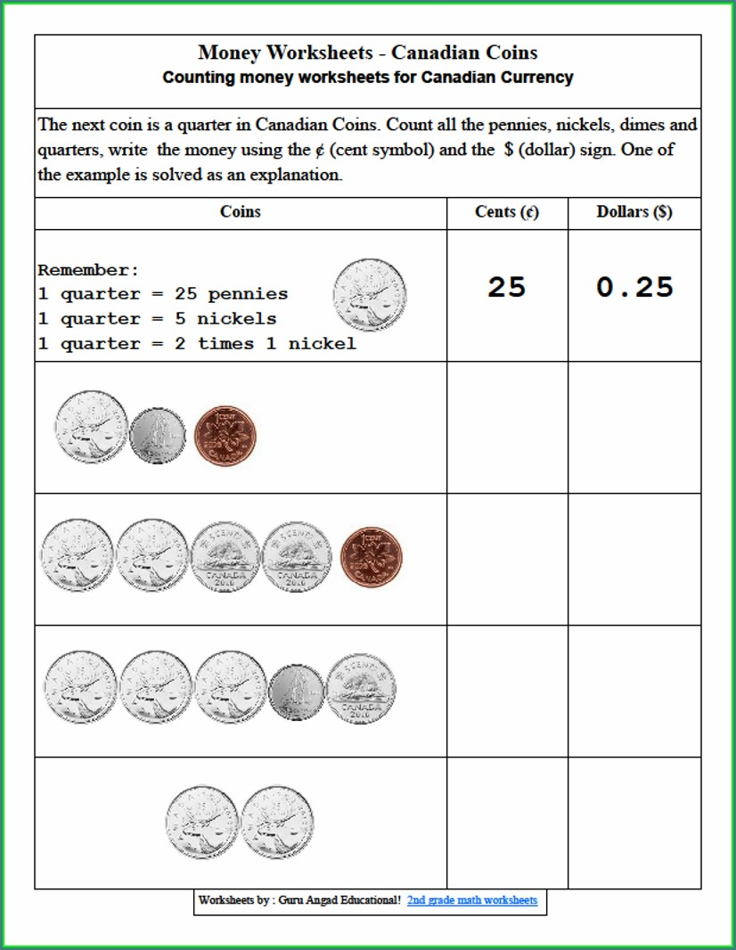 2nd Grade Money Math Worksheets