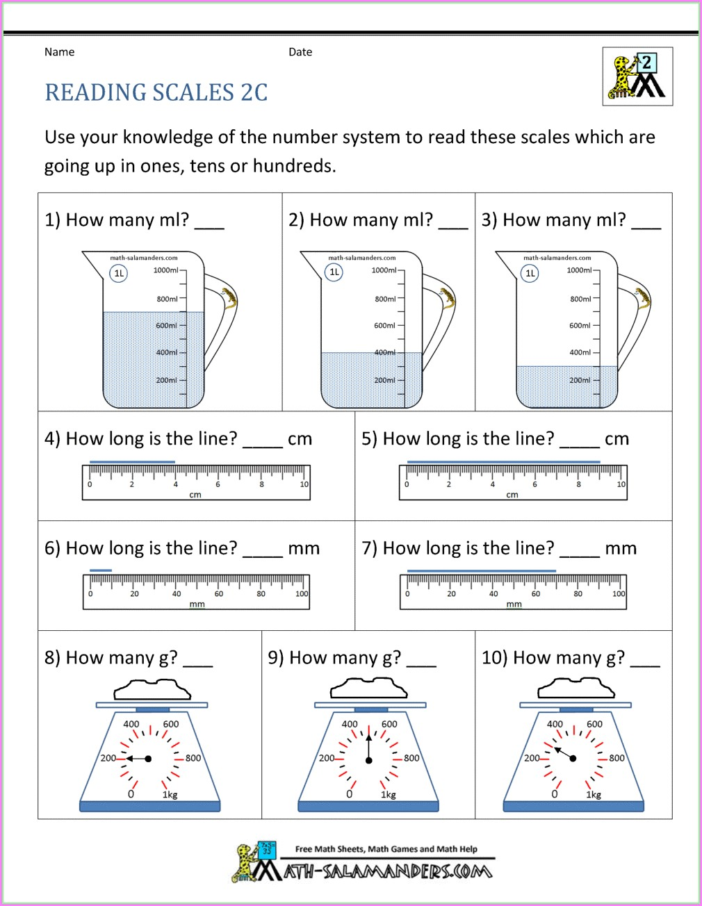 2nd Grade Second Grade Measurement Worksheets And Printables