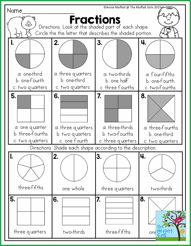 2nd Grade Shading Fractions Worksheet
