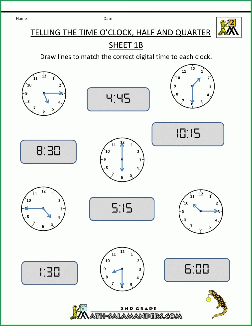 2nd Grade Teaching Time Clock Worksheets