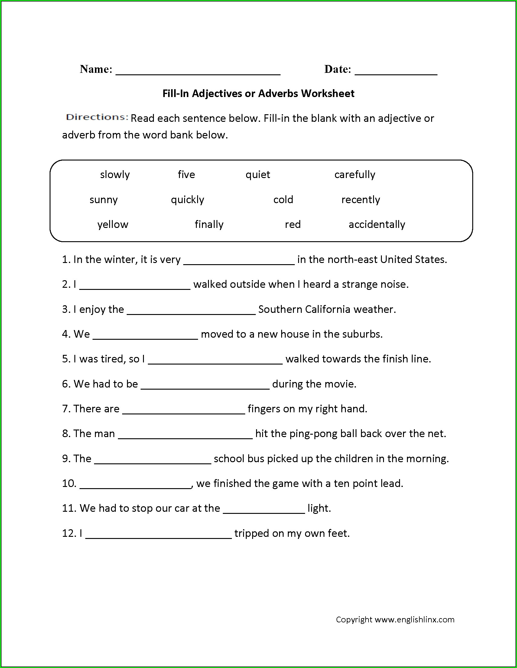 2nd Grade Worksheet On Adverbs For Grade 2