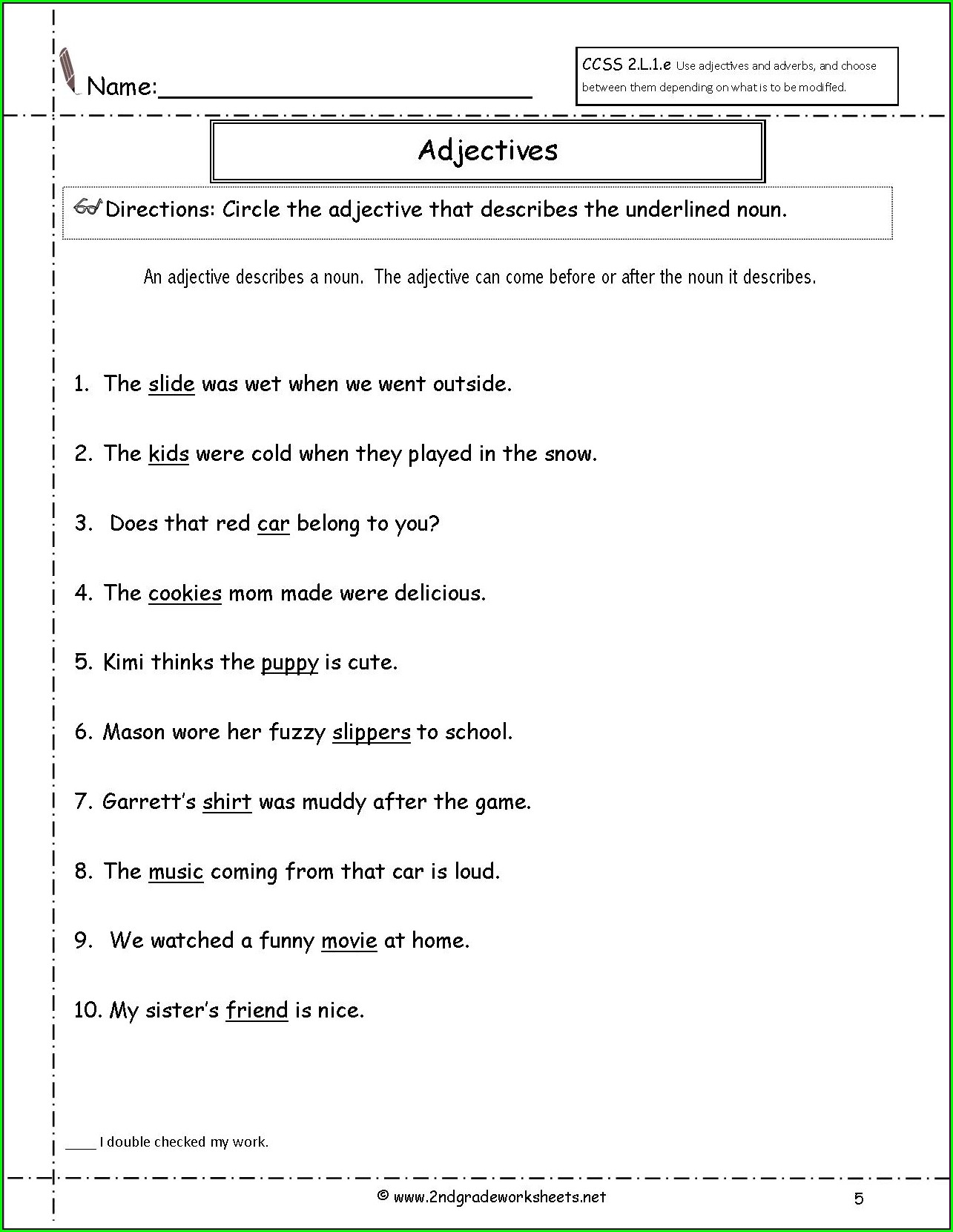 2nd Grade Worksheet On Adverbs