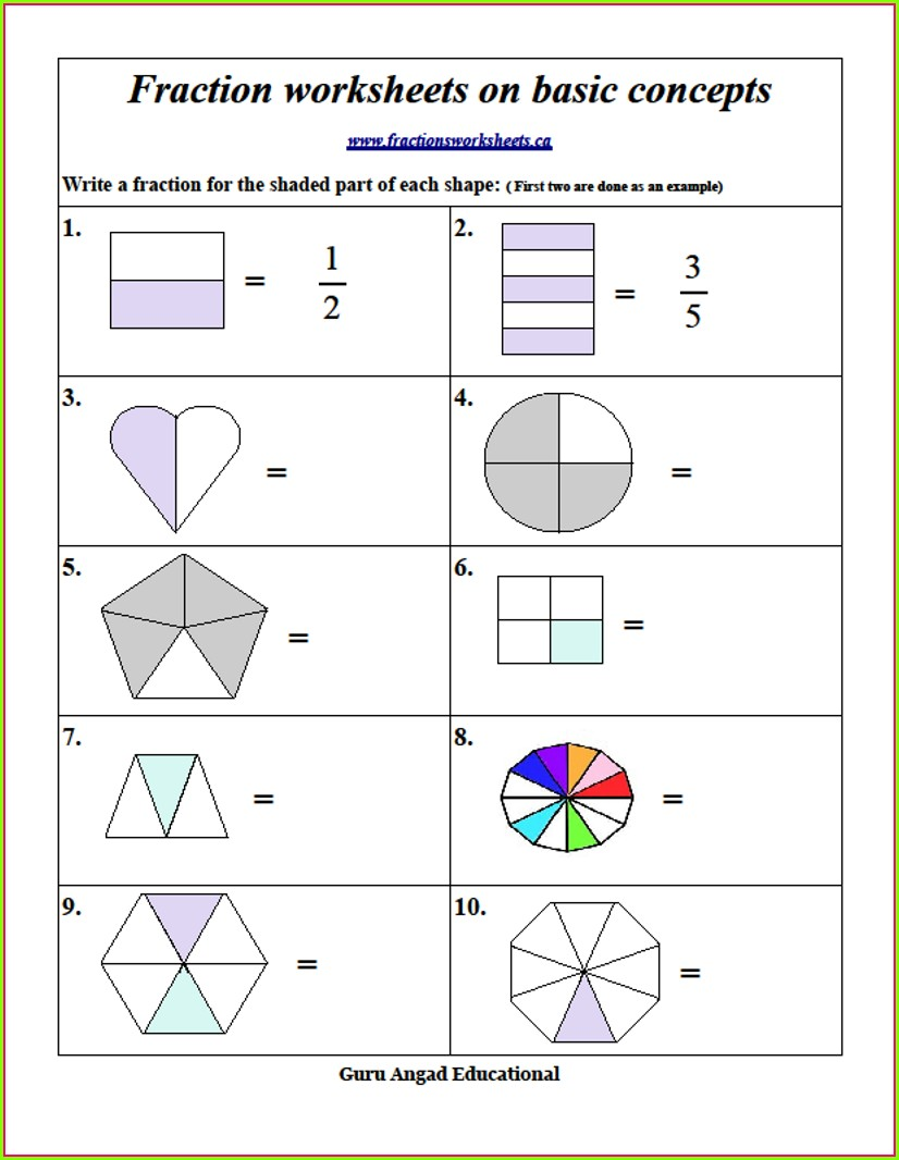 2nd Grade Worksheet On Fractions