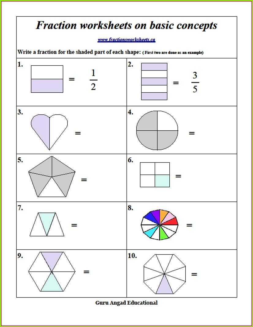2nd Grade Worksheet On Fractions