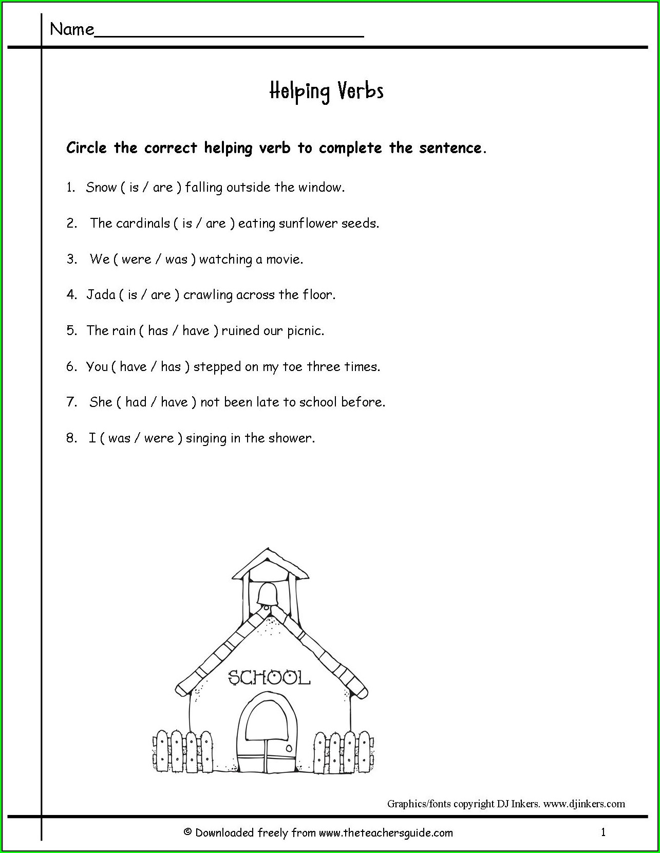 2nd Grade Worksheet On Helping Verbs For Grade 2