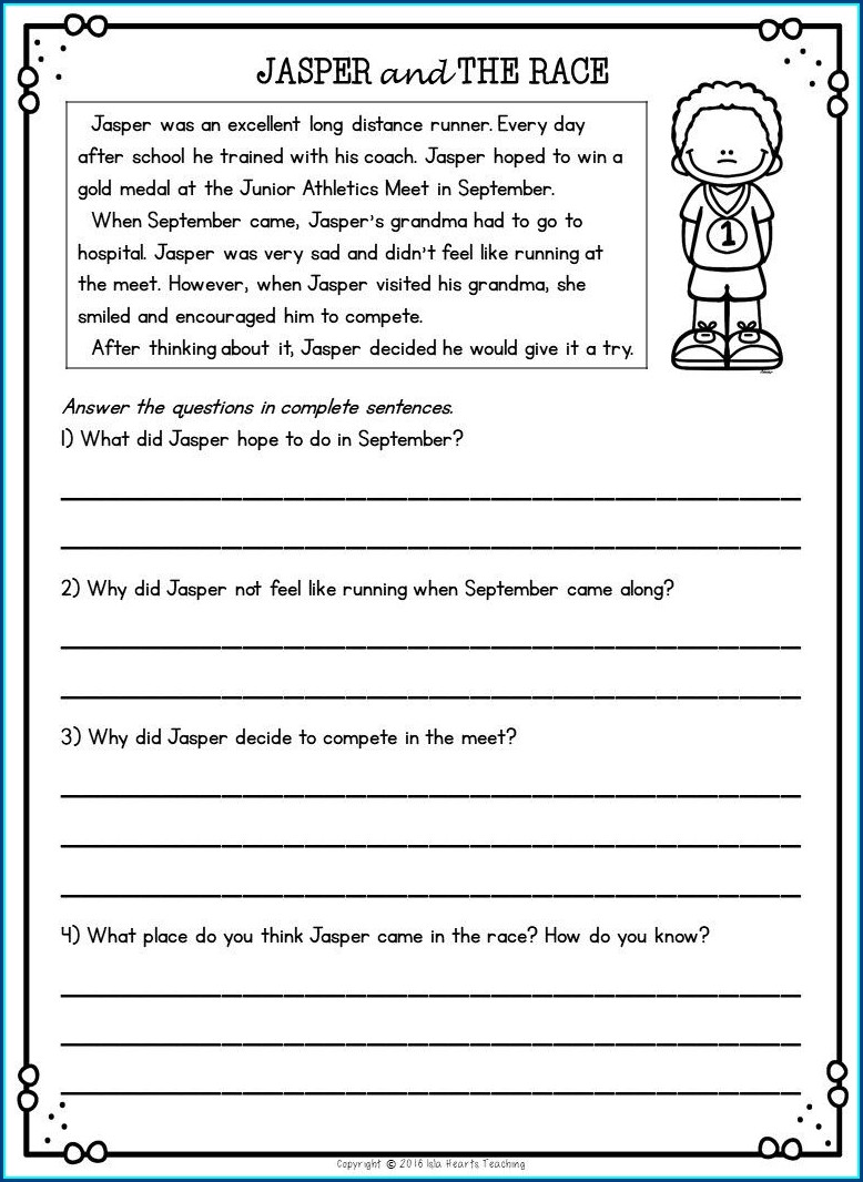 2nd Grade Worksheet Reading