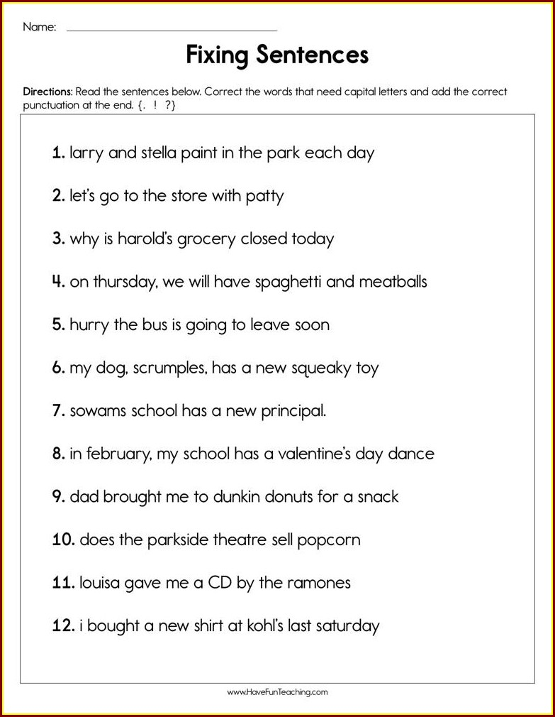 2nd Grade Worksheets On Capitalization And Punctuation