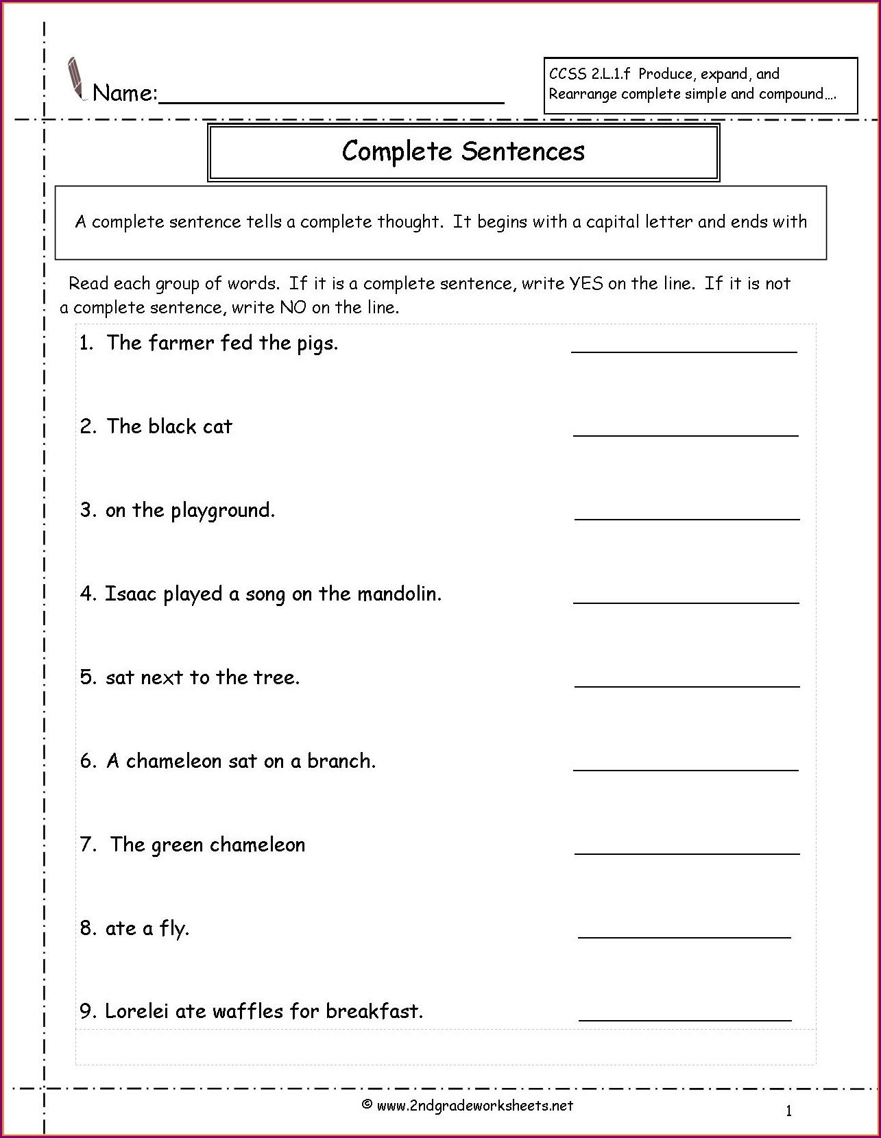 2nd Grade Writing Sentences Worksheets Pdf
