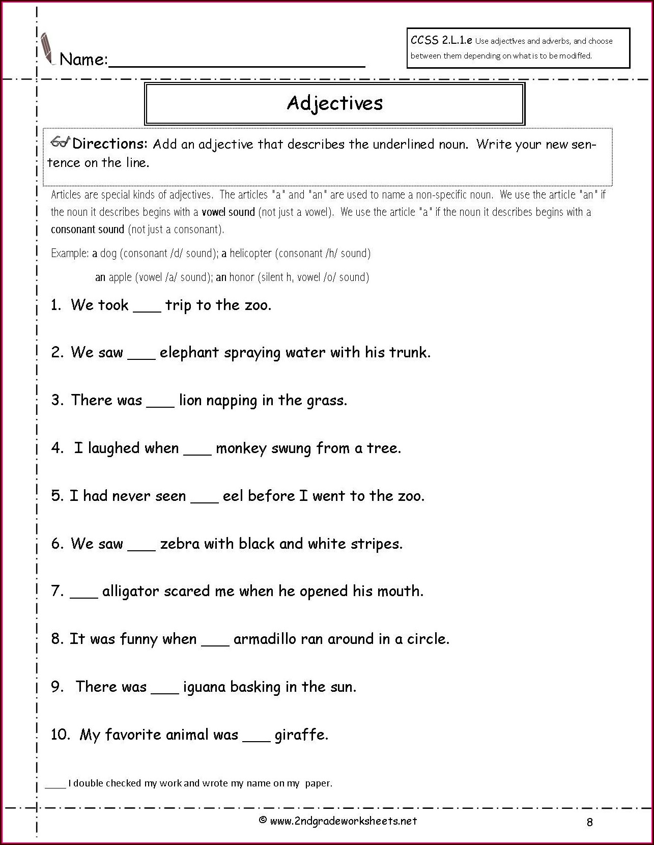 2nd Grade Year 2 English Grammar Worksheets