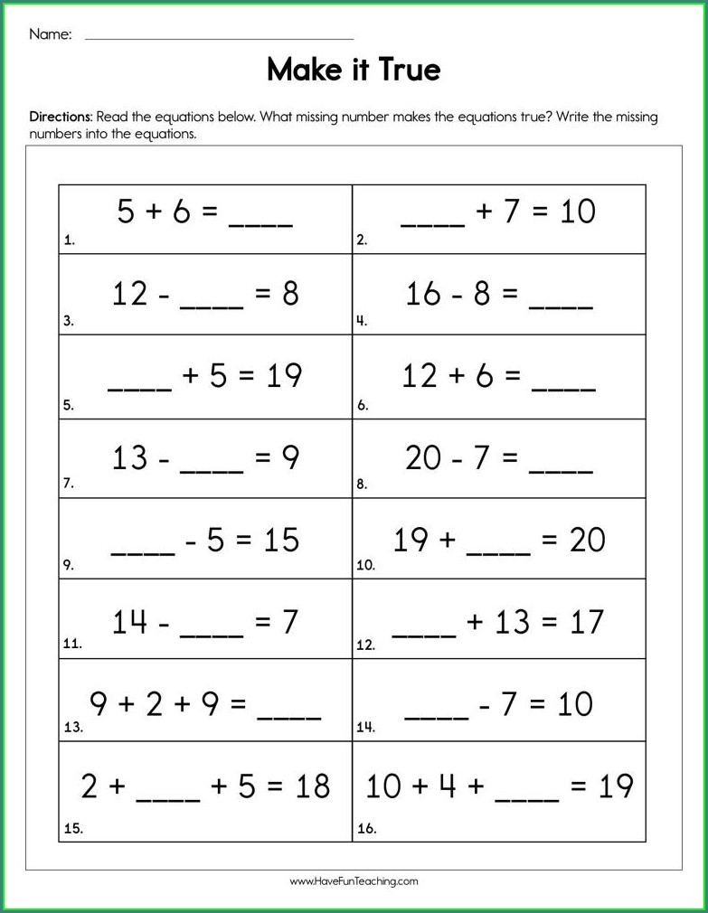 3 Digit Missing Number Worksheets