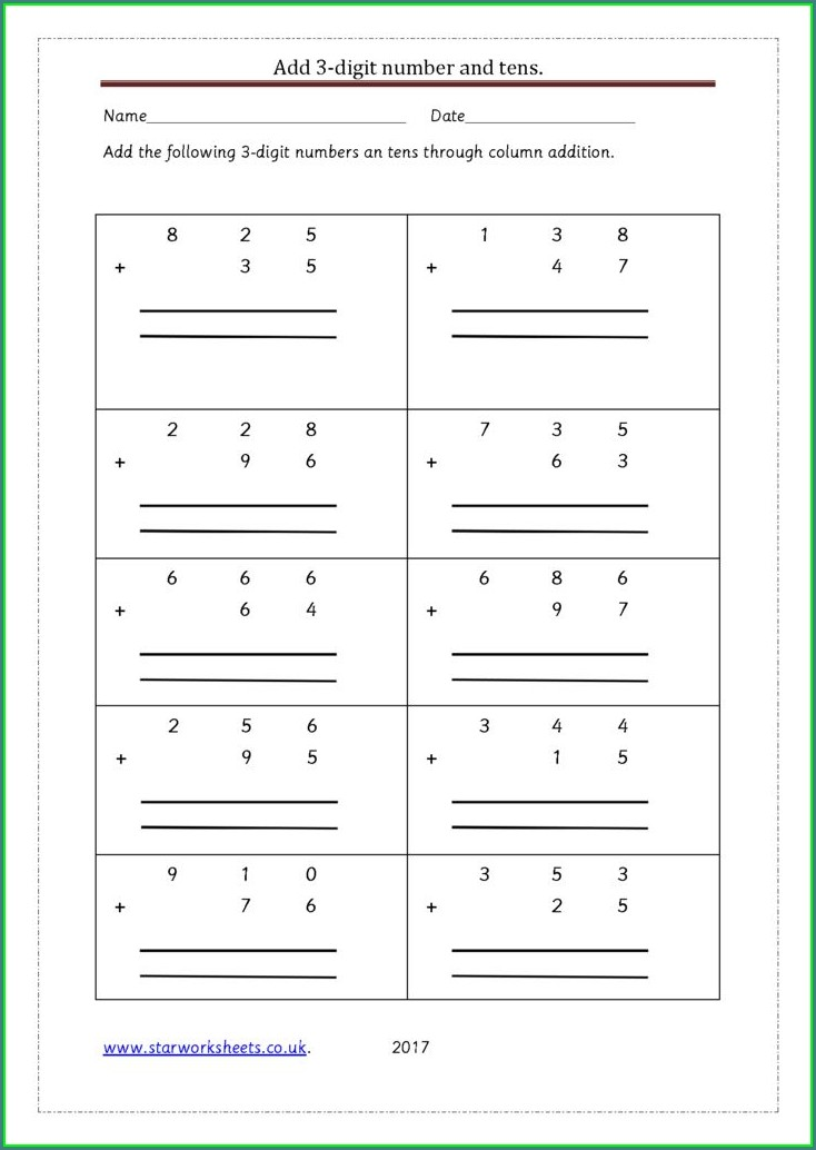 3 Digit Number Addition Worksheets