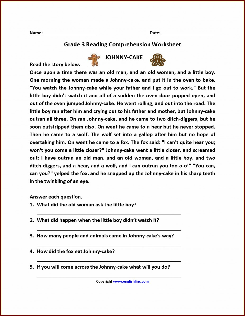 3rd Grade Comprehension Worksheet