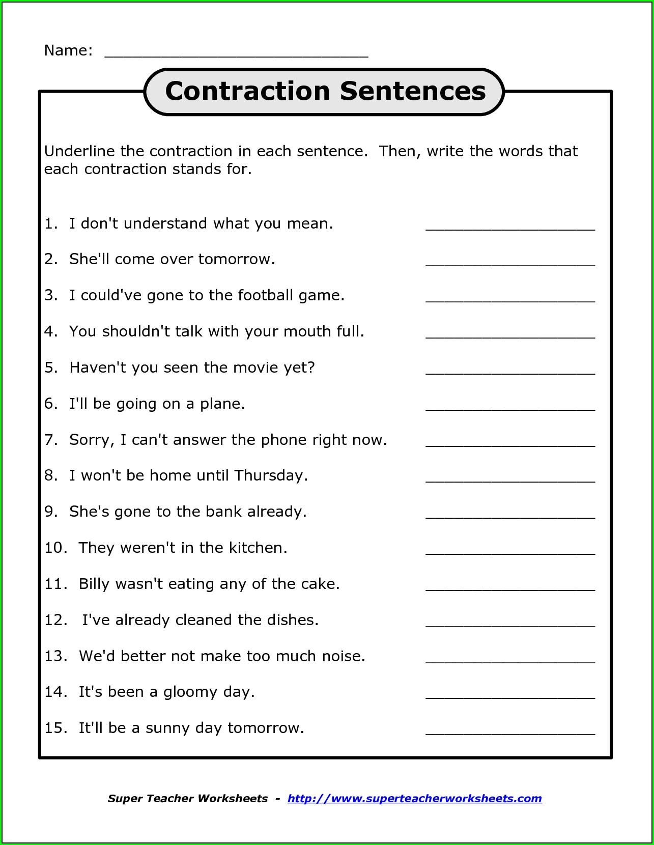 3rd Grade Contractions Grammar Worksheets