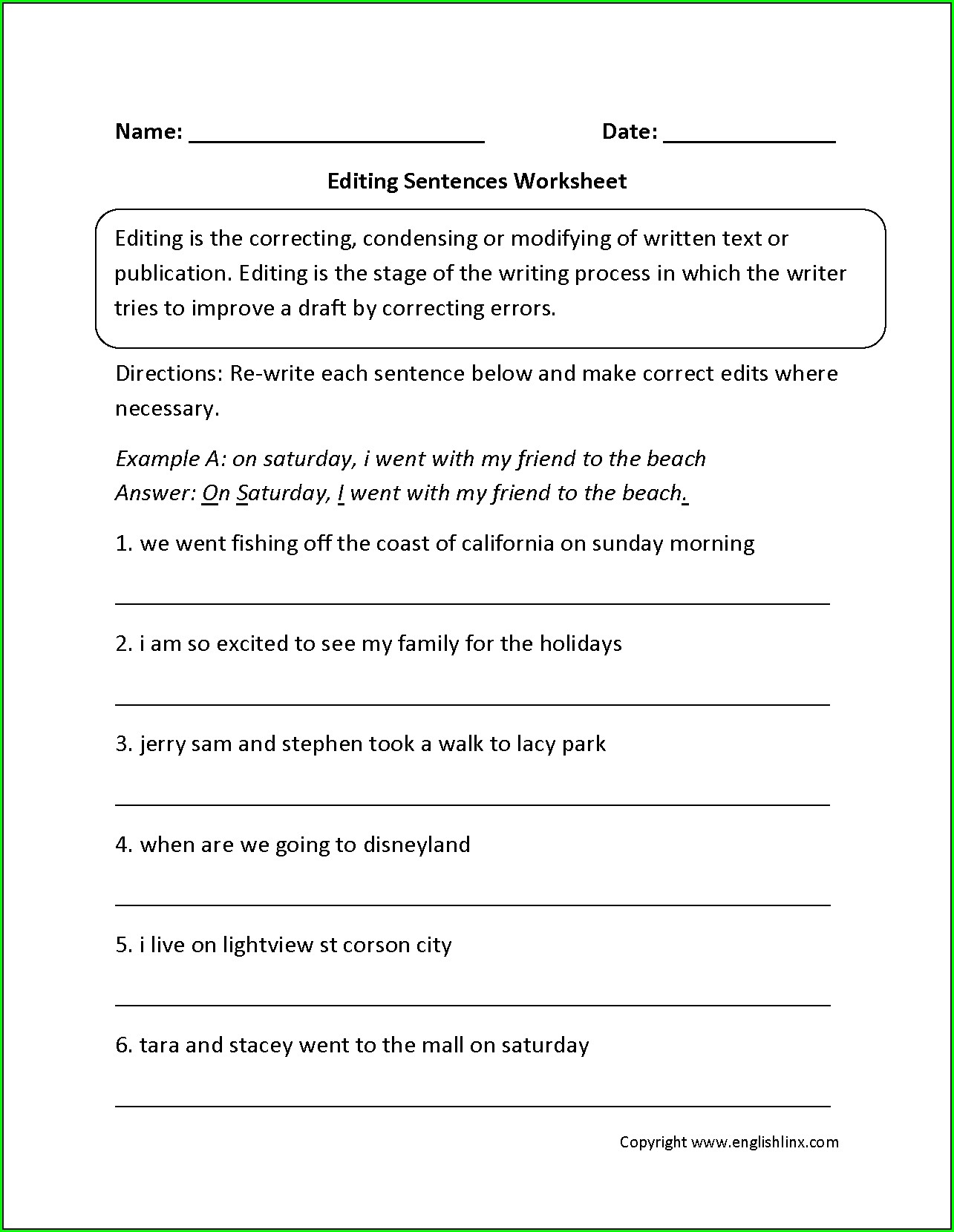 3rd Grade Editing Worksheets
