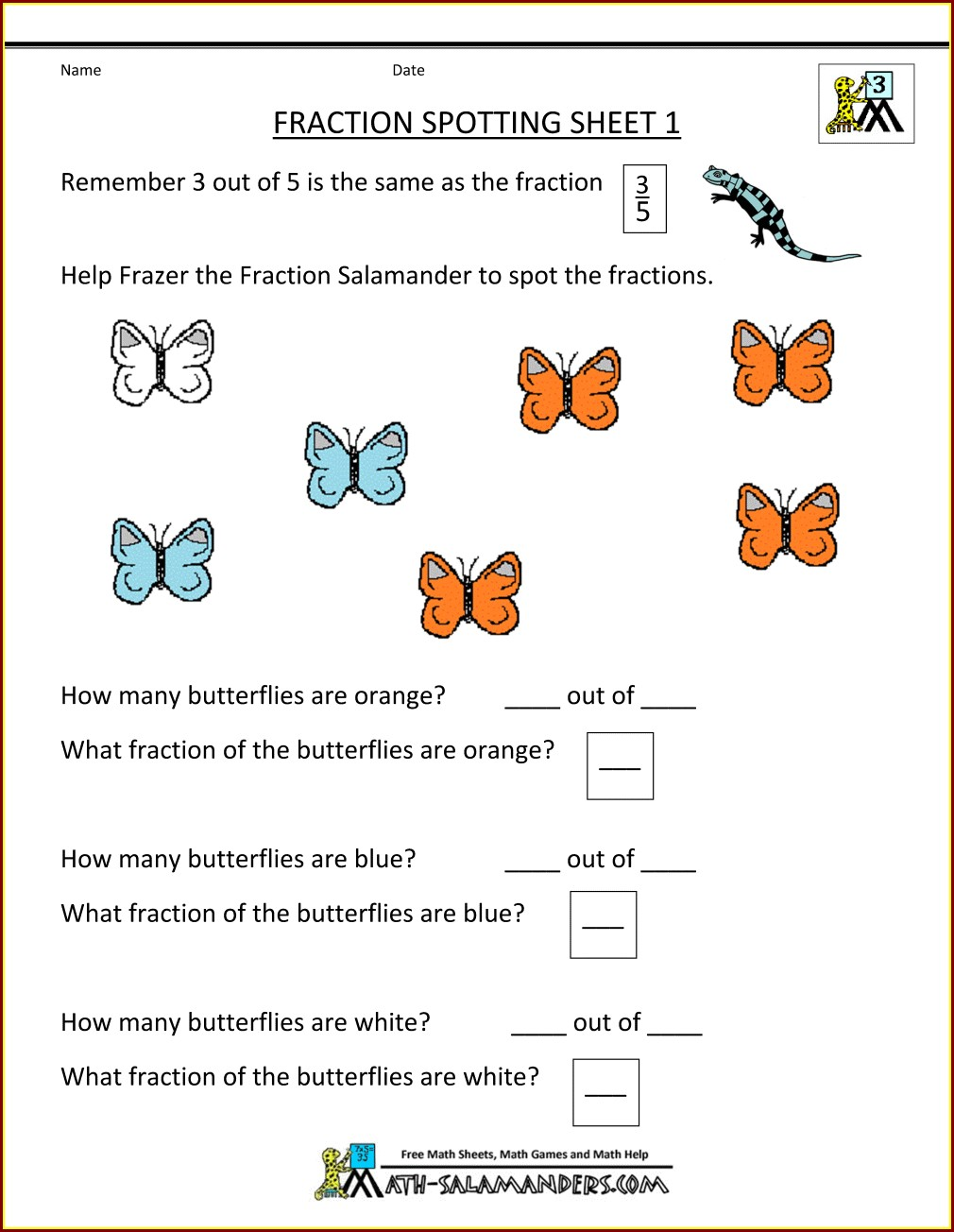 3rd Grade Fractions Worksheets Grade 3 Pdf