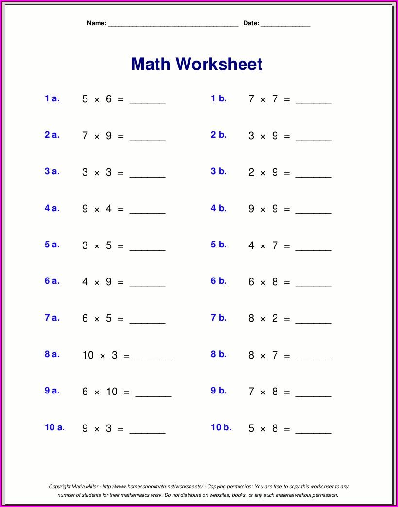 3rd Grade Free Multiplication Worksheets