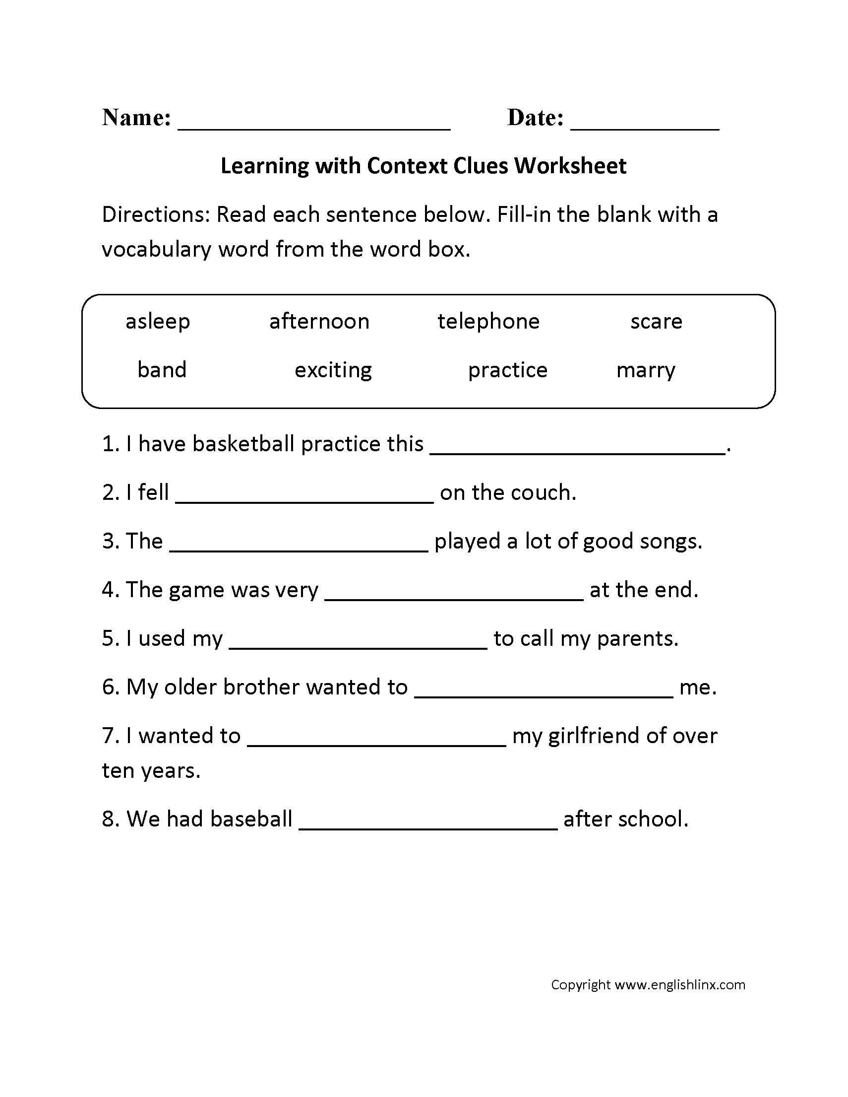 3rd Grade Grade 3 3rd Grade Context Clues Worksheets