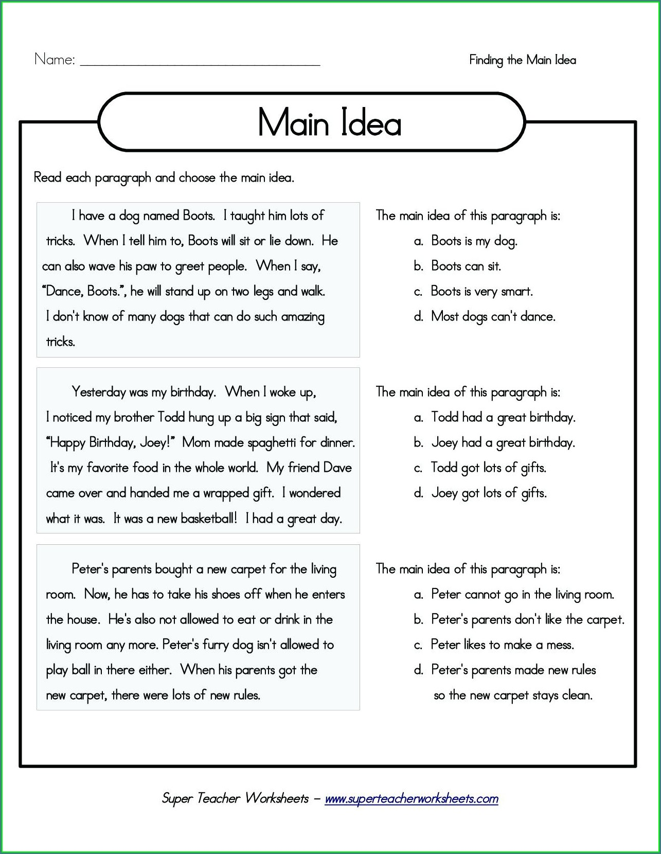 3rd Grade Grade 3 Comprehension Worksheet