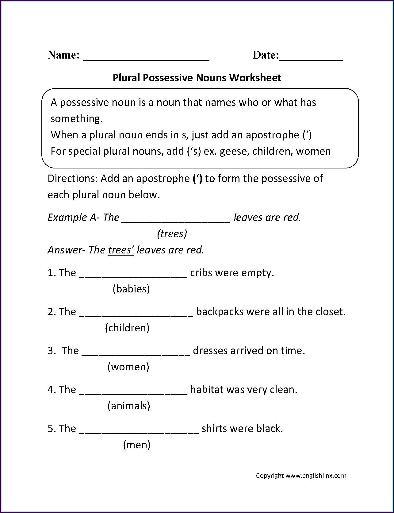 3rd Grade Grade 3 Nouns Worksheet
