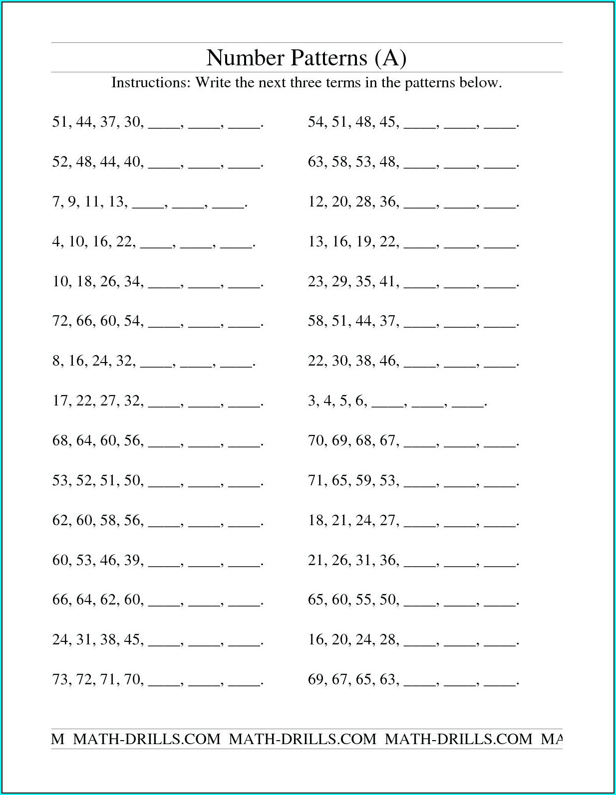 3rd Grade Grade 3 Number Patterns Worksheets
