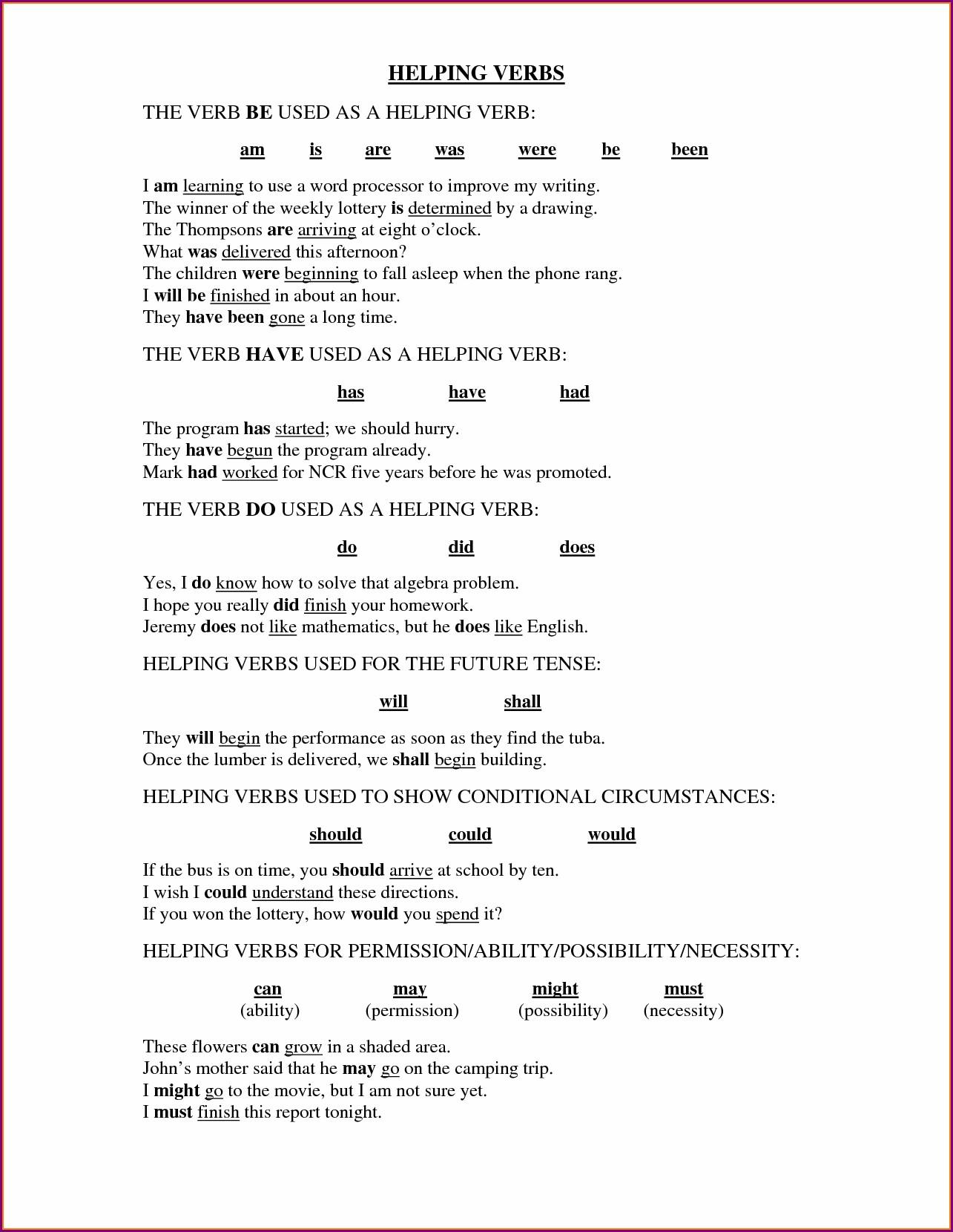 3rd Grade Helping Verbs Worksheet