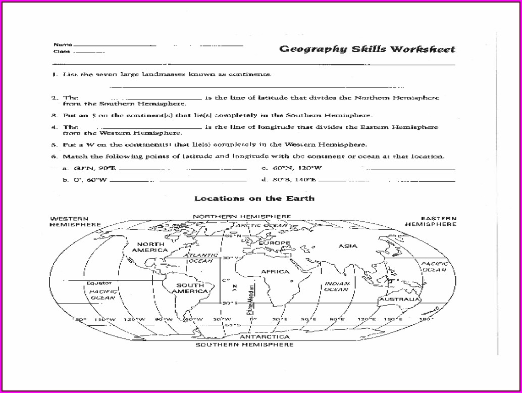 3rd Grade Hemisphere Worksheets