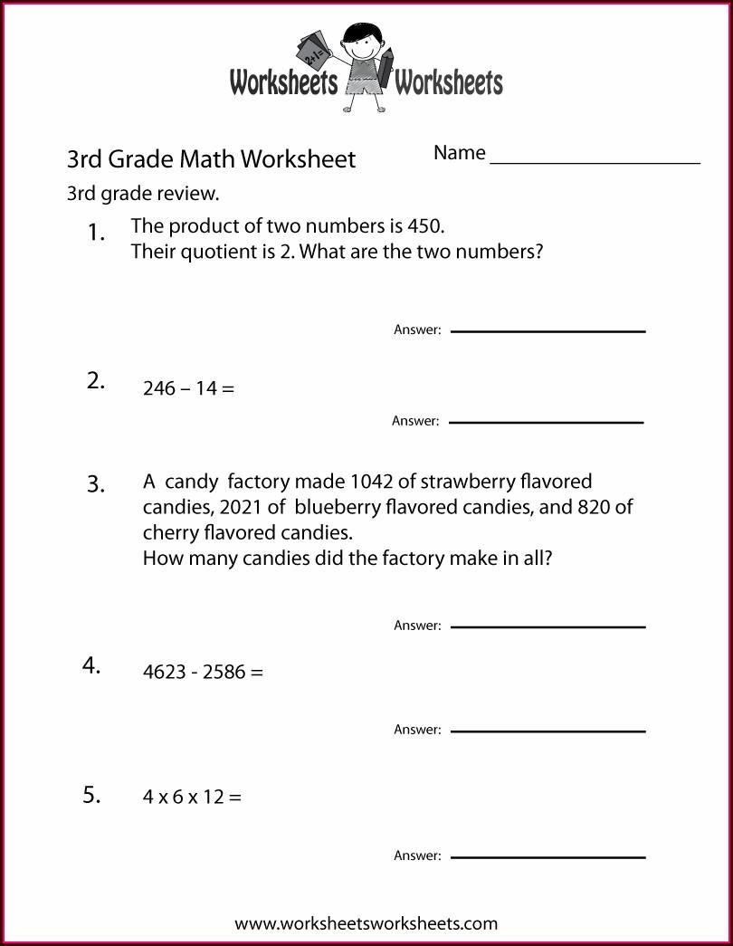 3rd Grade Math Worksheet Word Problems