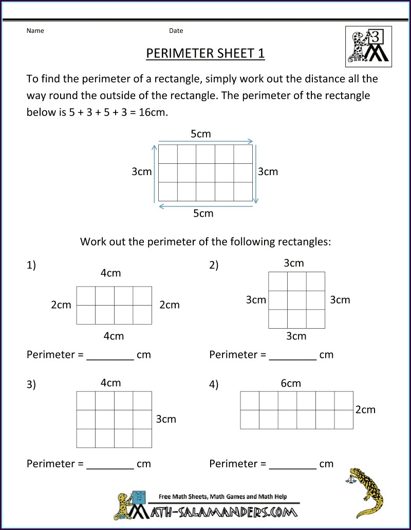 3rd Grade Math Worksheets Area And Perimeter