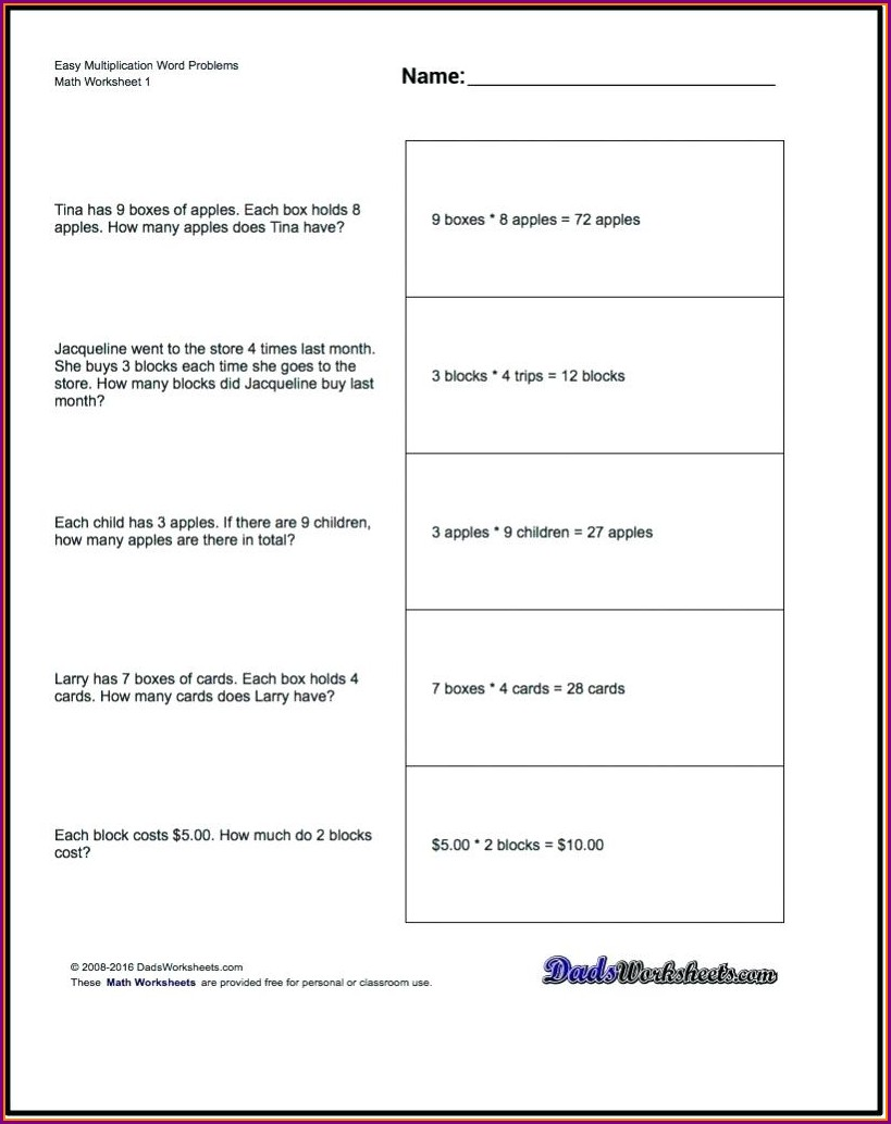 3rd Grade Multiplication And Division Word Problems Worksheets