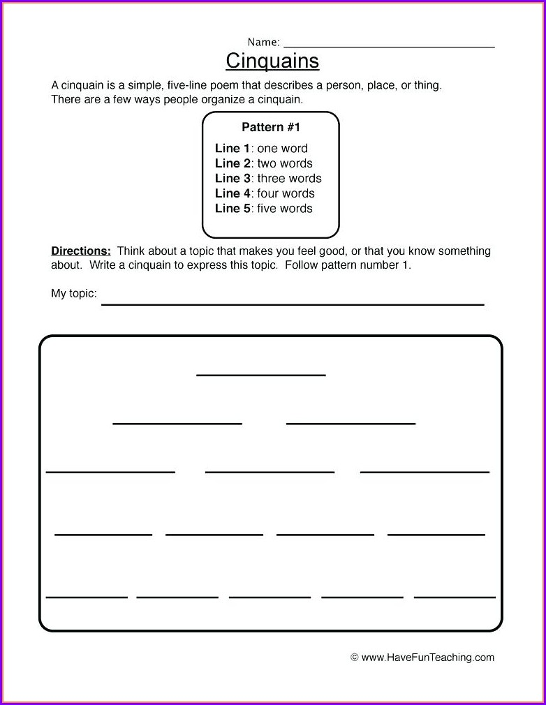 3rd Grade Poetry Activity Worksheets
