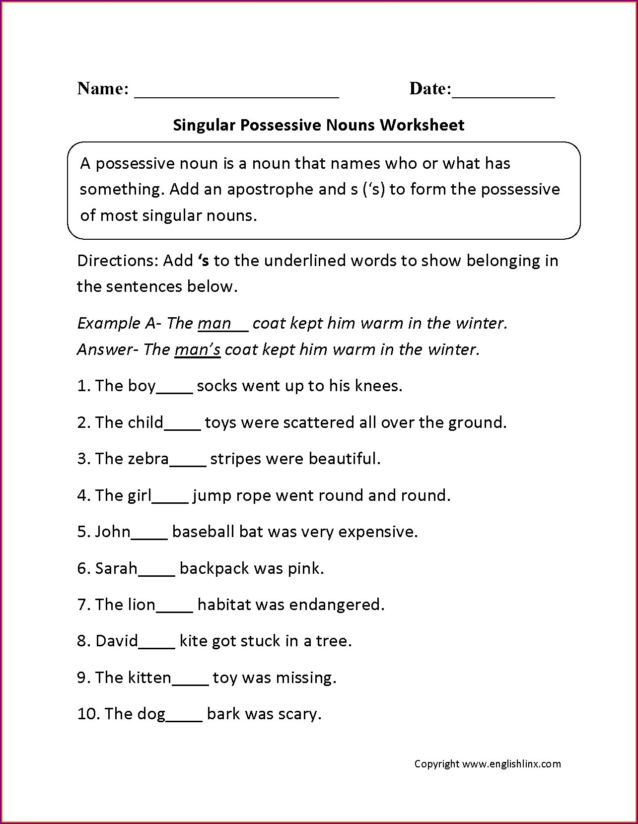 3rd Grade Possessive Nouns Worksheets