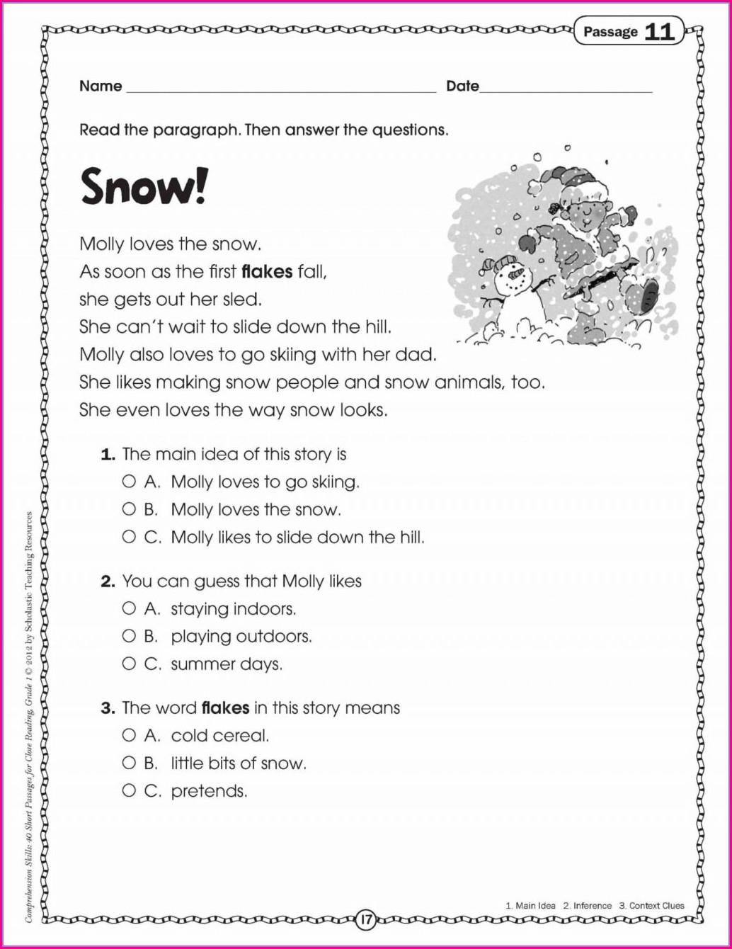3rd Grade Printable Comprehension Worksheets