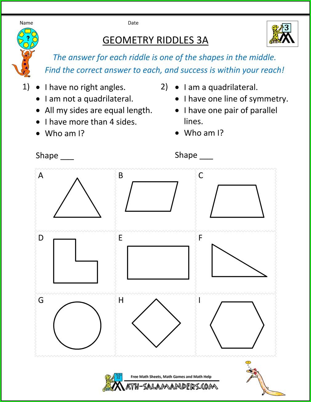 3rd Grade Quadrilateral Worksheets Grade 3