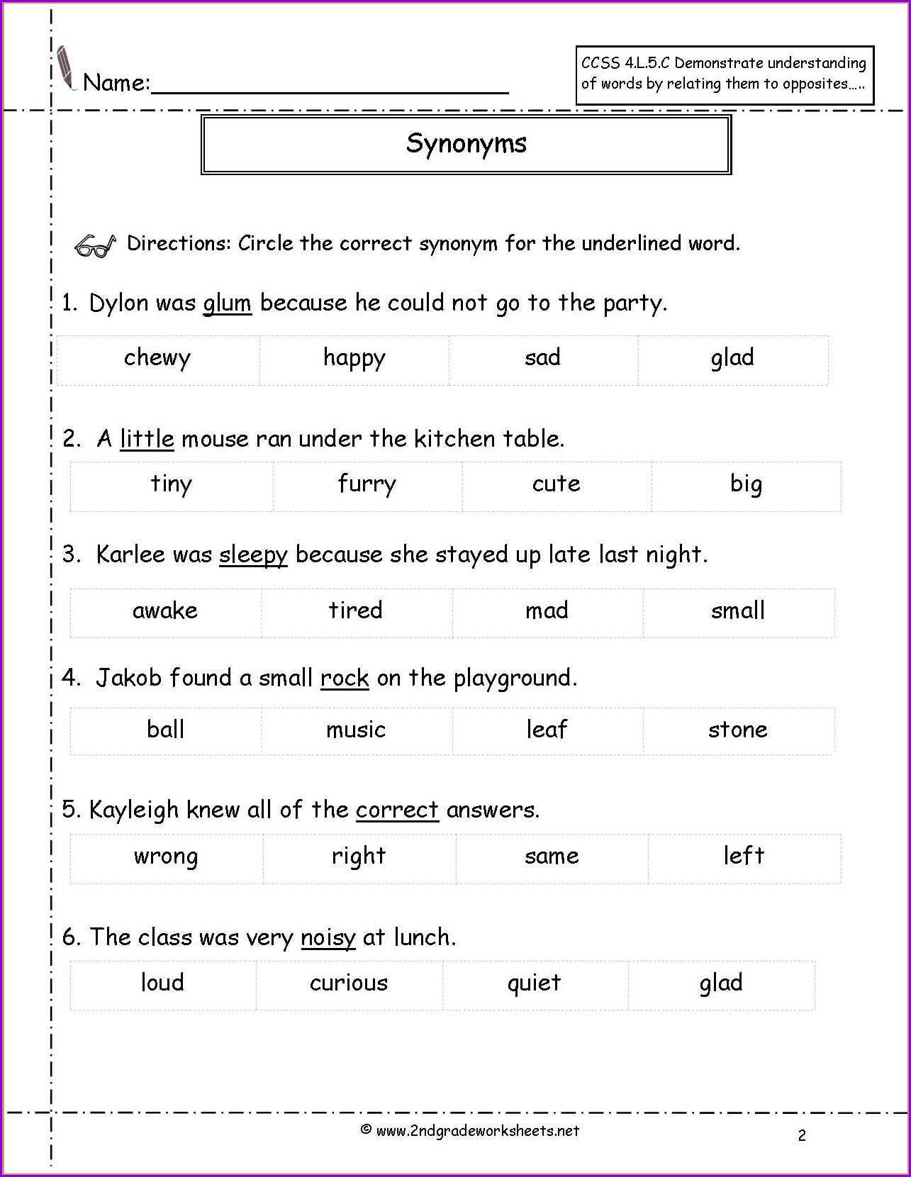 3rd Grade Synonyms Worksheet Pdf