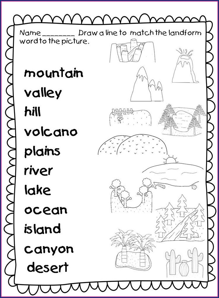 3rd Grade Worksheet On Landforms For Grade 3