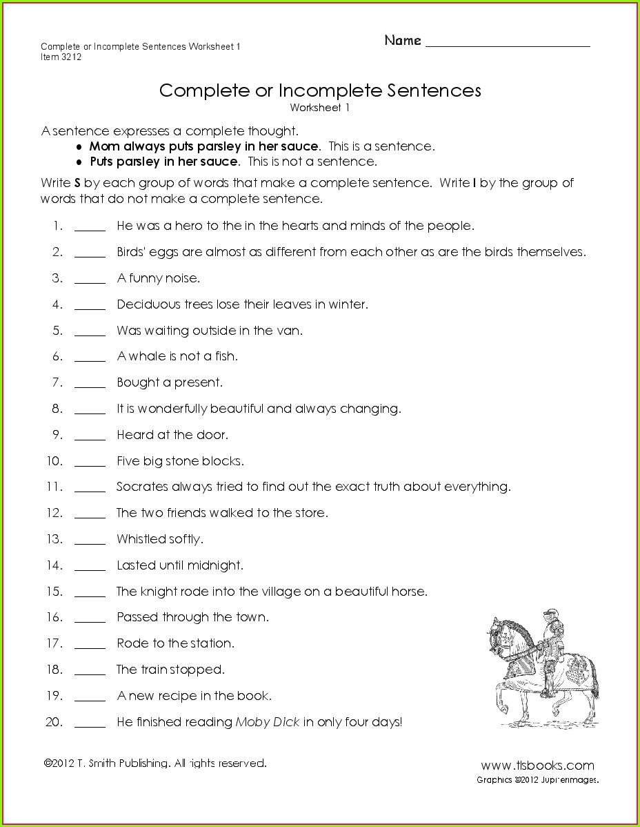 3rd Grade Writing Simple Sentences Worksheets