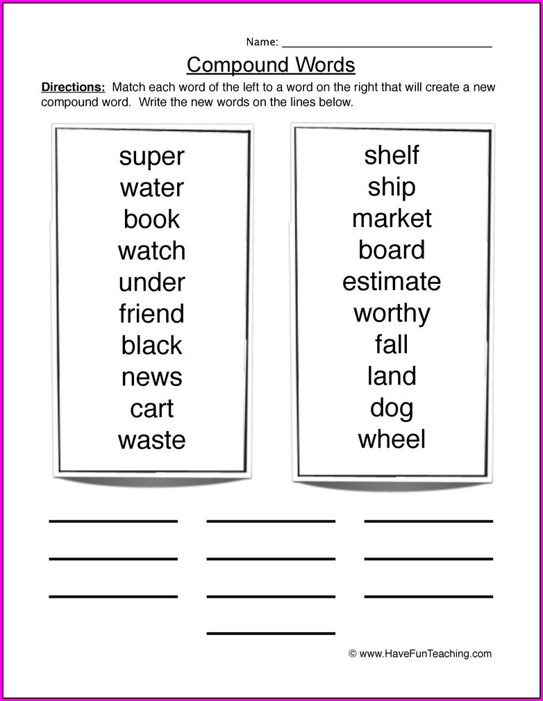 4th Grade Compound Words Worksheet