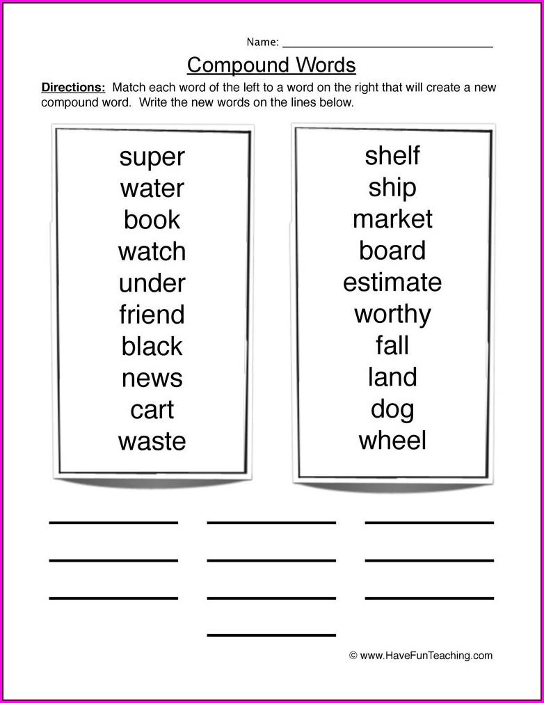 4th Grade Compound Words Worksheet
