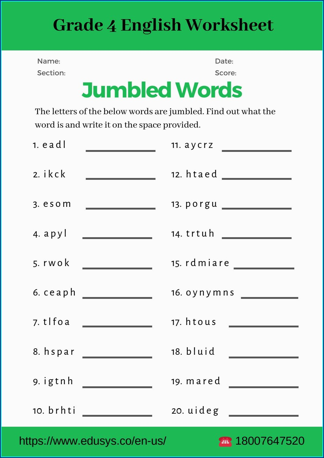 4th Grade English Worksheets For Grade 4